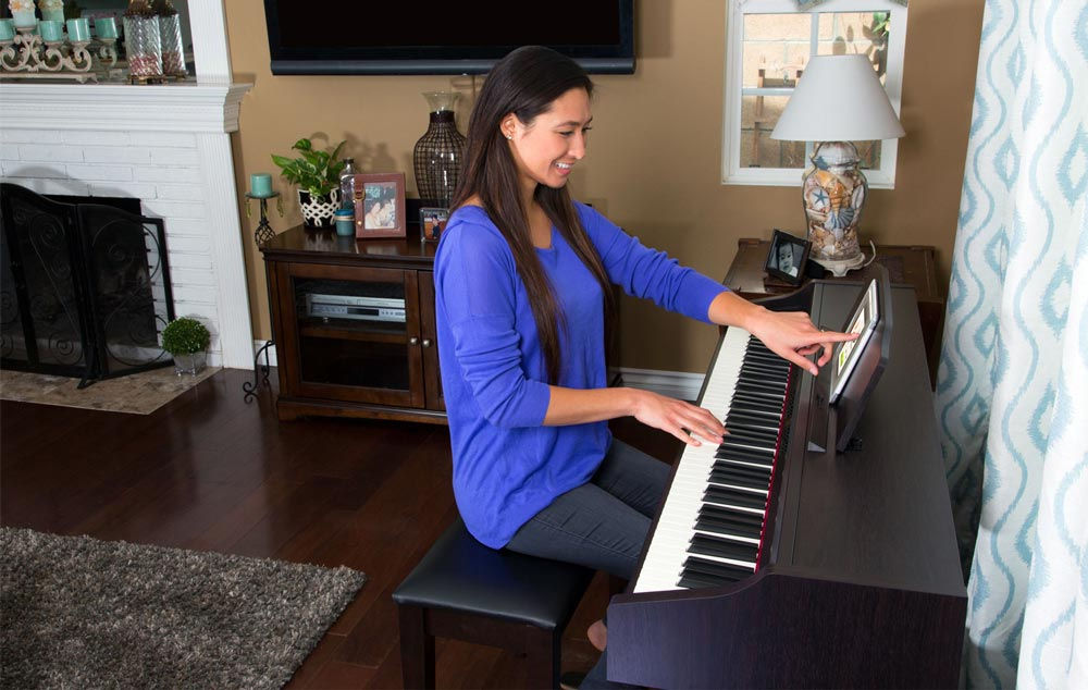 Woman Playing Roland RP-401R Digital Piano